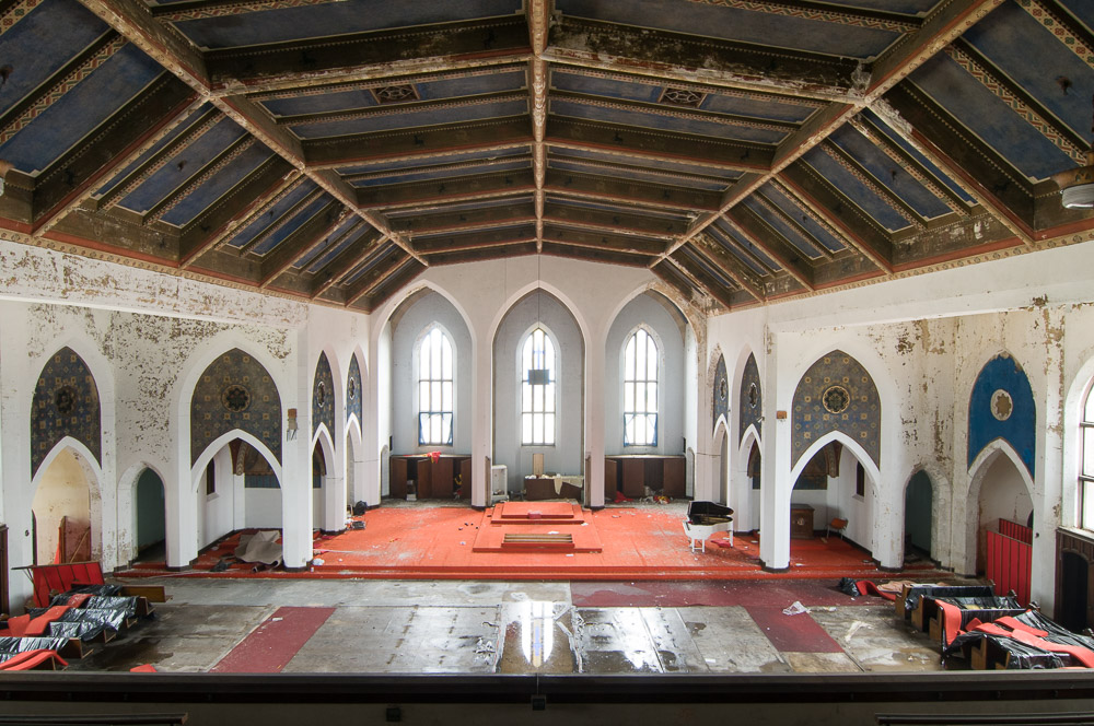 The main sanctuary at the former Woods Cathedral.